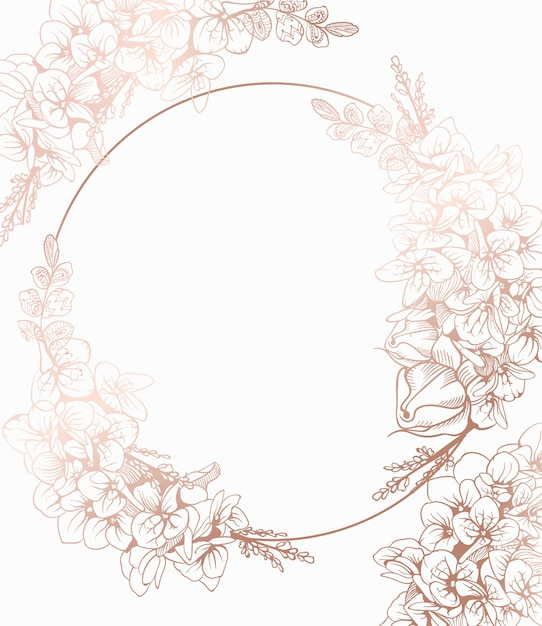 Vintage boho flowers wreath decor Premium Vector