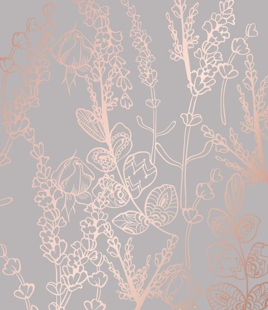 Vintage Boho Pattern Flowers Premium Vector