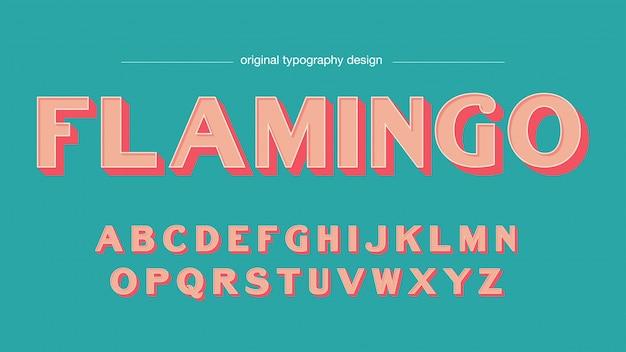 Vintage bold bevel salmon typography Premium Vector