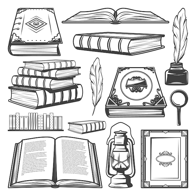 Vintage book elements collection with different books Free Vector