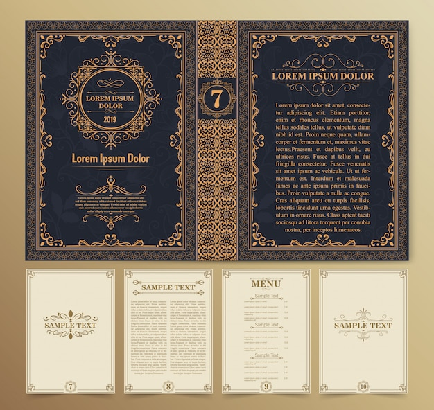 Vintage book layouts and design Premium Vector