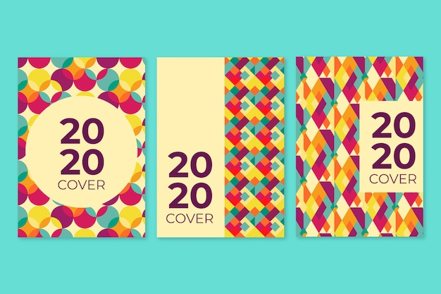 Vintage books and notepads geometric cover collection Free Vector