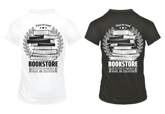 Винтажные принты книжного магазина на шаблоне рубашки с надписями, книгами и изолированными лавровыми венками Бесплатные векторы
