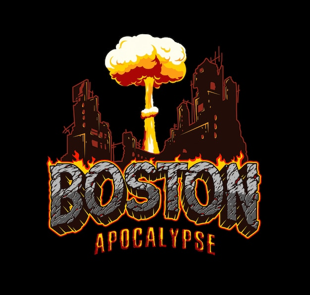 ビンテージボストンの黙示録のラベル 無料ベクター