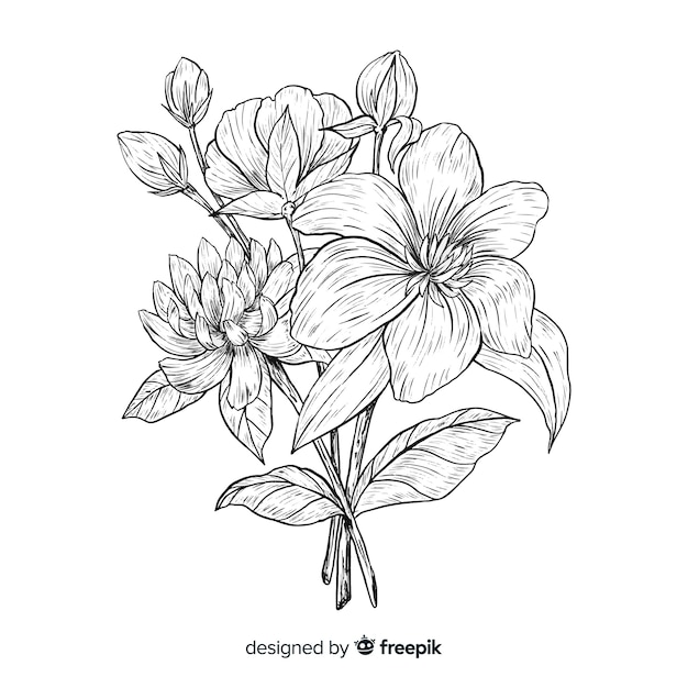 Vintage botanical flower bouquet Free Vector