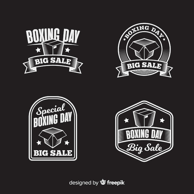 Vintage boxing day sale badge collection Free Vector