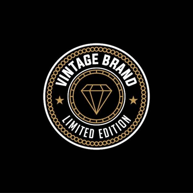 ヴィンテージブランド限定版、ダイヤモンドのロゴのデザインテンプレート Premiumベクター