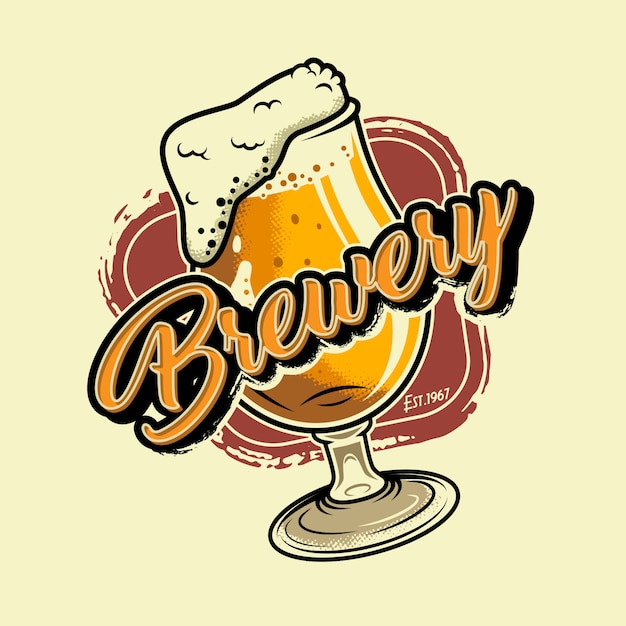 Vintage brewery colorful illustration Free Vector