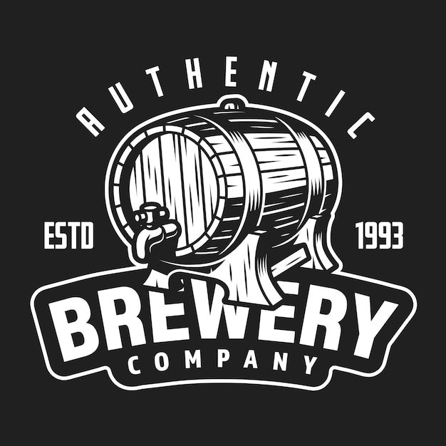 Vintage brewery company white logo Free Vector