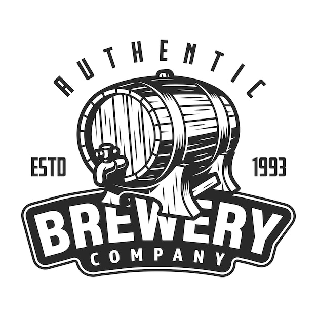 Vintage brewery logo template Free Vector