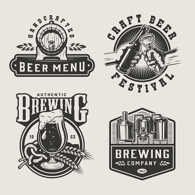 Vintage brewery monochrome labels Free Vector