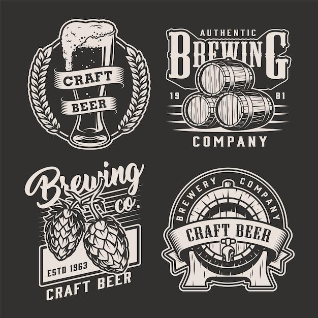 Distintivi di birra vintage Vettore gratuito