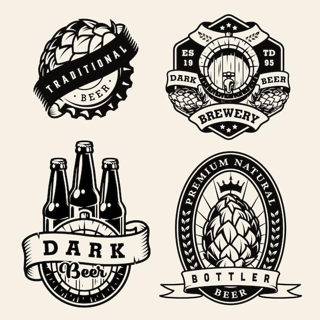 Set di badge monocromatici birra vintage Vettore gratuito
