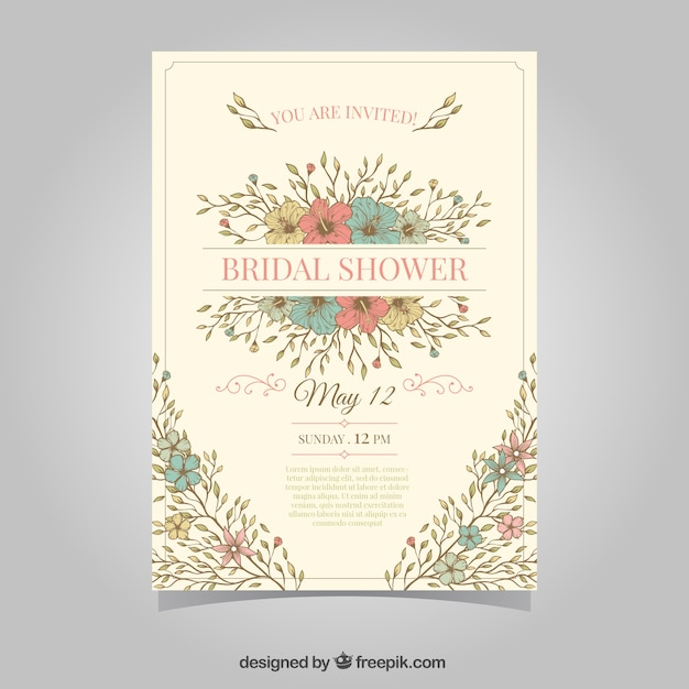 Vintage Bridal Shower Invitation With Colored Flowers Free Vector