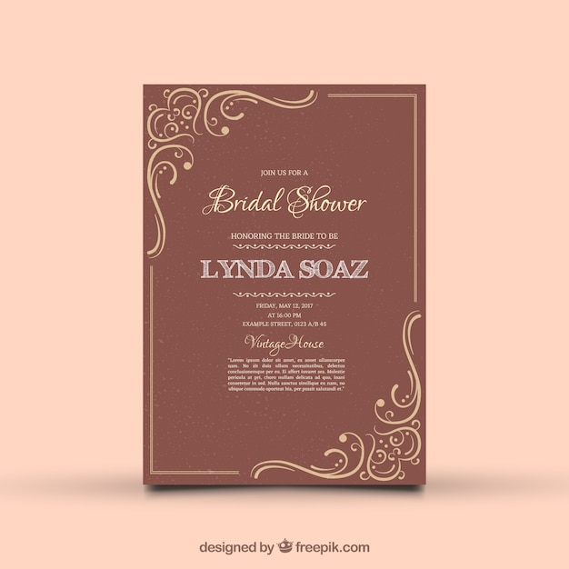 Vintage Bridal Shower Invitation With Ornamental Decoration Free Vector
