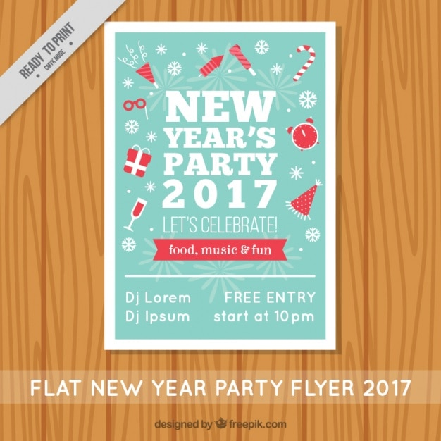 Vintage brochure of new year's party Free Vector