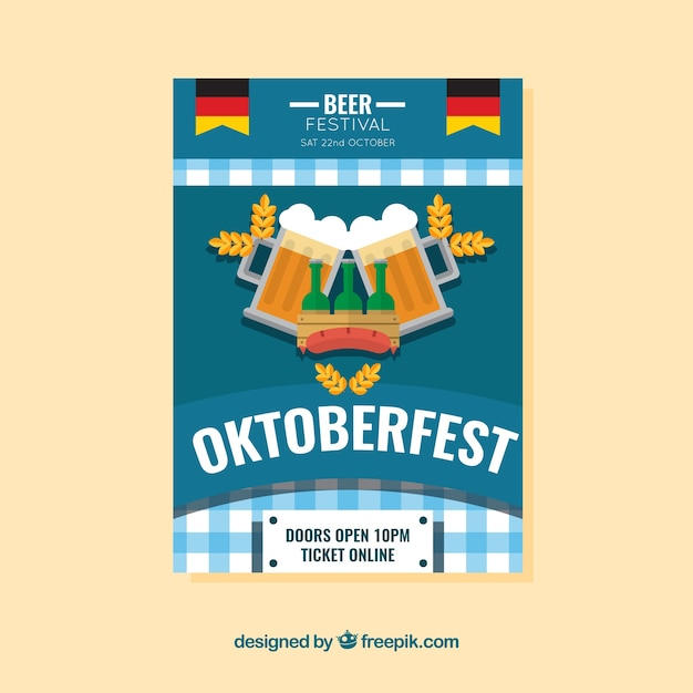 Vintage brochure of oktoberfest in flat design
