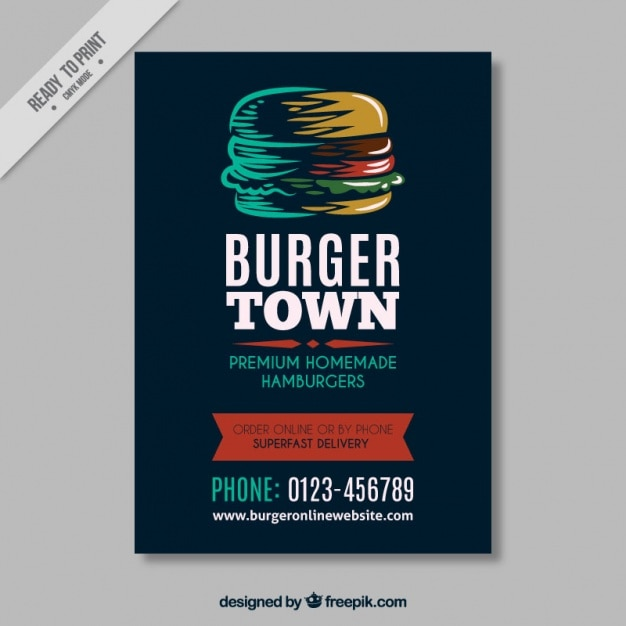 Vintage Brochure Template With Hand Drawn Hamburger Vector Free