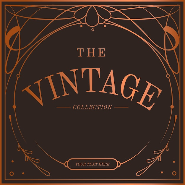 Vintage bronze art nouveau badge vector Free Vector