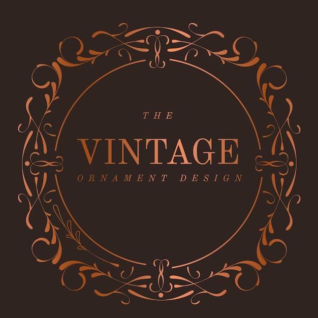 Vintage bronze art nouveau badge vector Free Vector