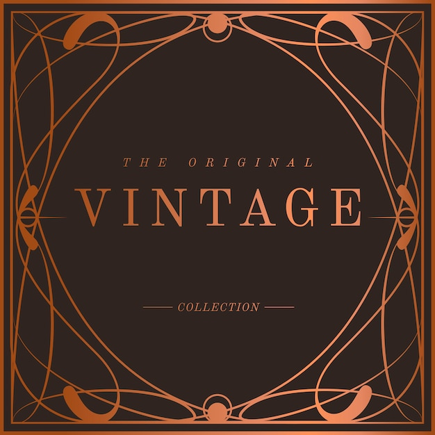 Vintage bronze art nouveau badge Free Vector