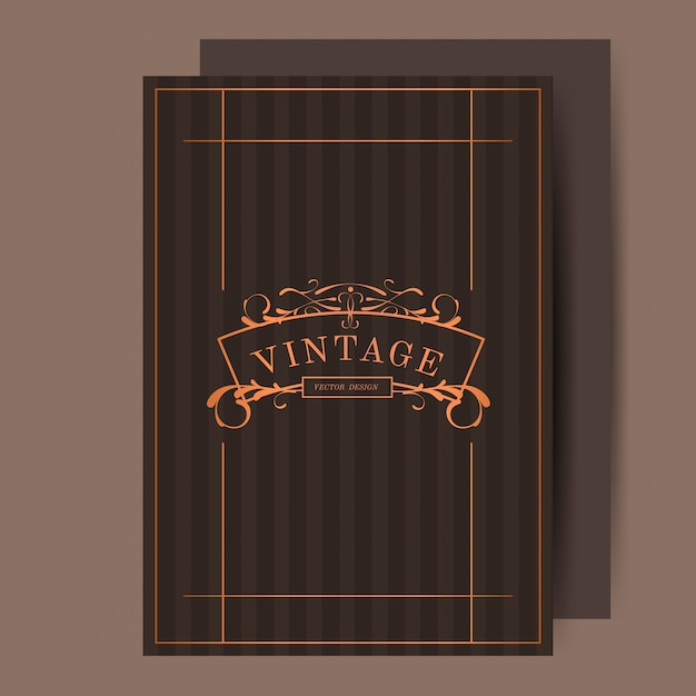 Vintage bronze art nouveau wedding invitation vector Free Vector