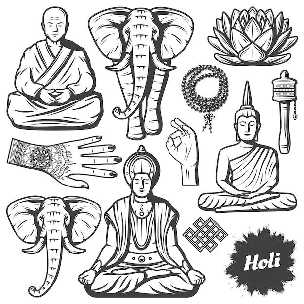 Винтажные элементы религии буддизма, установленные с буддийским монахом, слоном, четками, религиозными бусинами, цветком лотоса, руками, тибетское молитвенное колесо, изолированное Бесплатные векторы