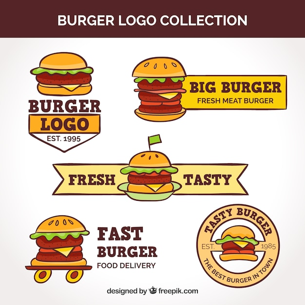 Vintage burger logo collection