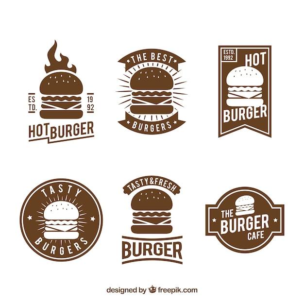 Винтажный логотип для гамбургеров Бесплатные векторы