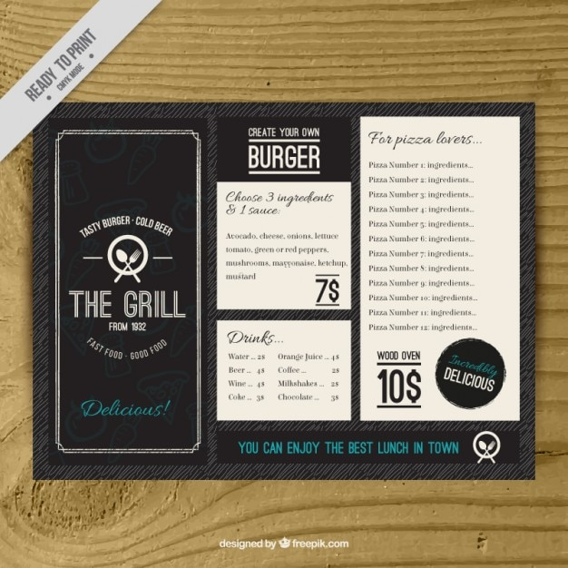Vintage burguer bar menu template Vector – Drinks Menu Template Free
