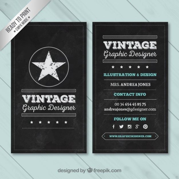 Vintage business card in blackboard style vector free download vintage business card in blackboard style free vector reheart Gallery