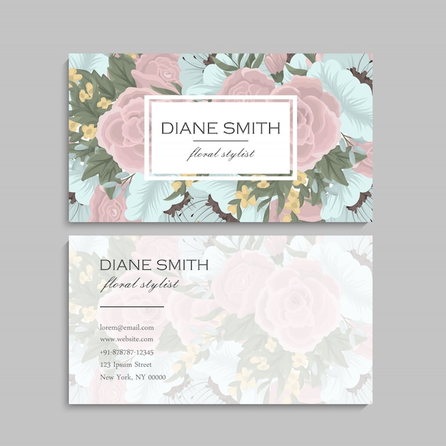 Vintage business card with flowers and berries Free Vector
