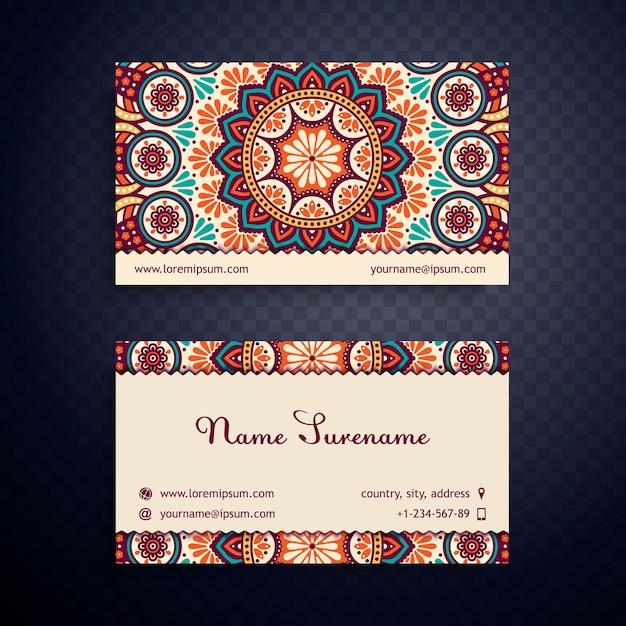 vintage business card with mandala design vector free download