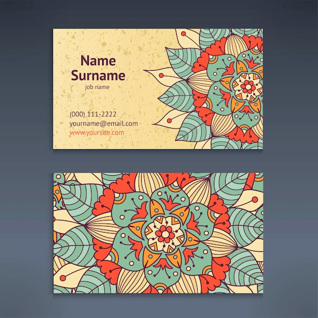Vintage business and visiting card with floral mandala pattern Premium Vector