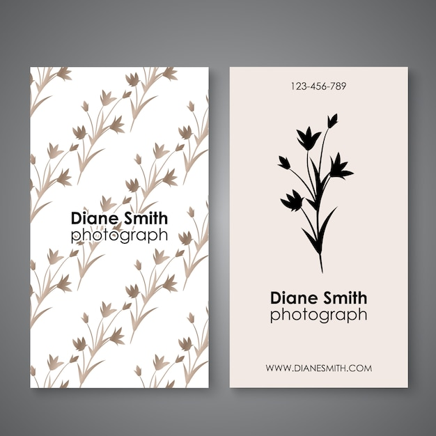 Vintage business and visiting card with floral pattern Premium Vector
