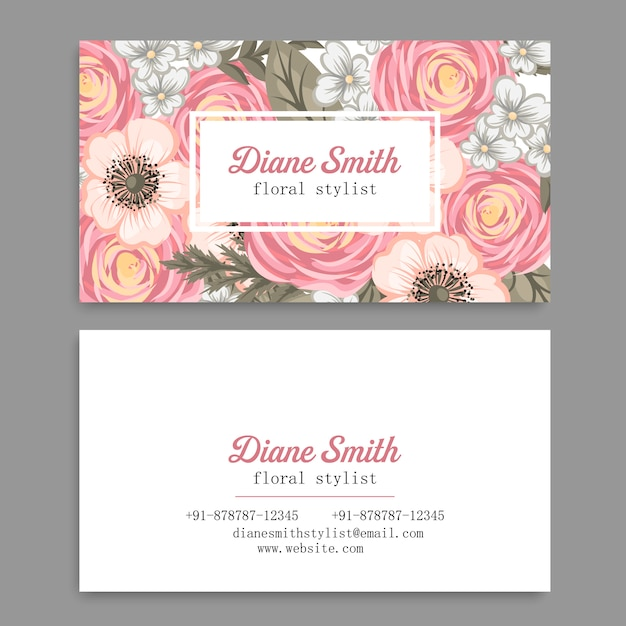 Vintage business and visiting card Premium Vector