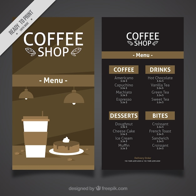 Vintage cafe menu in flat design Free Vector