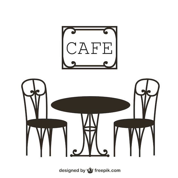 Vintage cafe table vector free download for Cafe coffee table