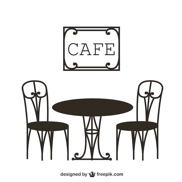 Vintage стол кафе Premium векторы