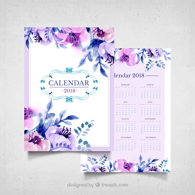 Vintage calendar of watercolor flowers in\ purple tones