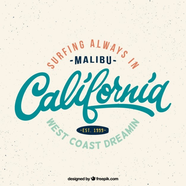 Vintage California Surf Badge Free Vector
