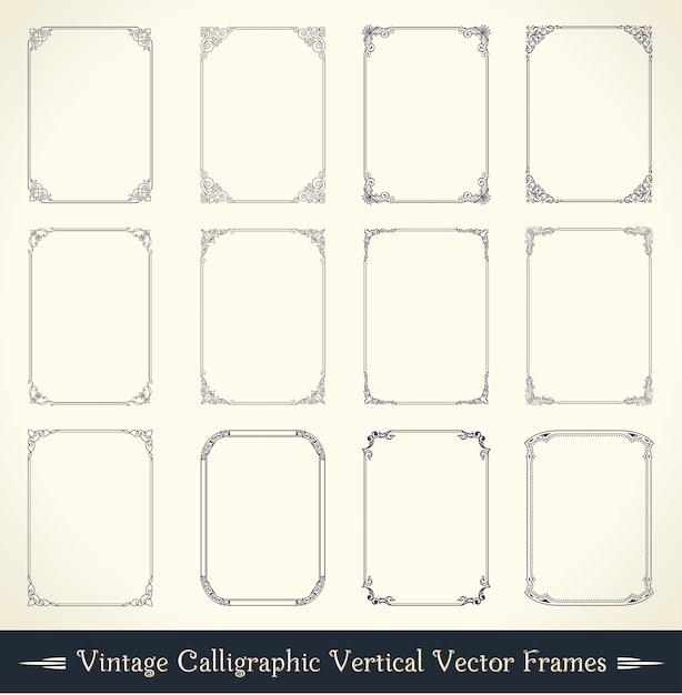 Vintage calligraphic frame set Premium Vector
