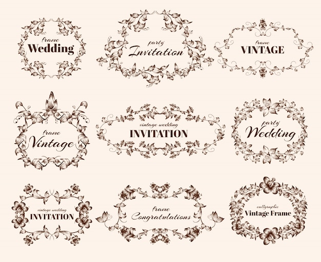 Винтажные каллиграфические рамки Бесплатные векторы