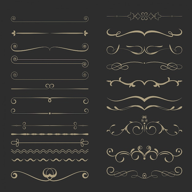 Vintage calligraphic page dividers set Premium Vector