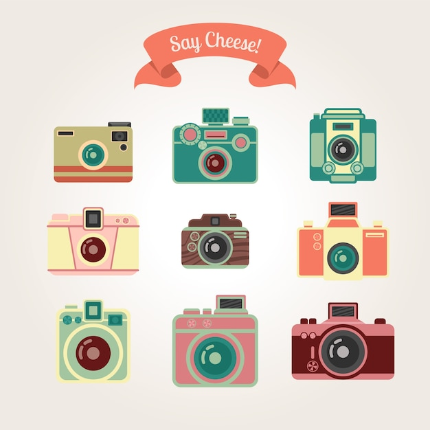 Vintage cameras collection Premium Vector
