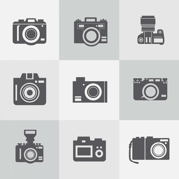 Vintage cameras collection Free Vector
