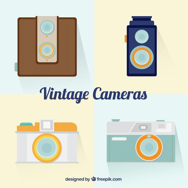 Vintage cameras in flat design
