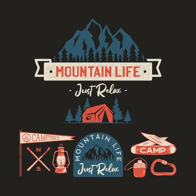 Vintage Camp Logos, Mountain Badges Set