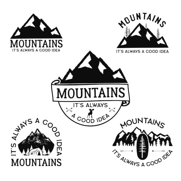 ヴィンテージキャンプのロゴ、山のバッジセット。 Premiumベクター