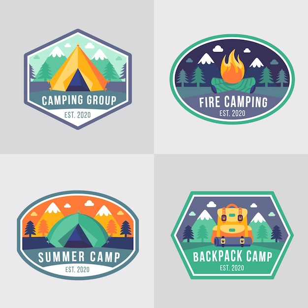 Vintage camping and adventures badges Free Vector